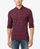 Tommy Hilfiger Men's Big & Tall Vanderbilt Striped Pique Long-Sleeve Polo