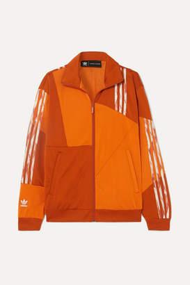 adidas + Danielle Cathari Striped Paneled Satin-jersey Track Jacket - Orange