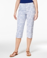 Karen Scott Petite Geo-Print Button-Hem Capri Pants, Created for Macy's