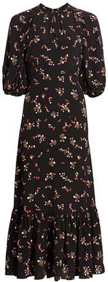 By Ti Mo Printed Puff-Sleeve Flounce Midi Dress