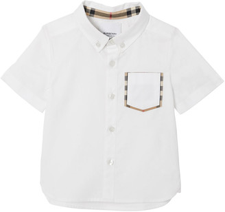 Burberry Boy's Harry Button Front Shirt w/ Check Trim Pocket, Size 6M-2