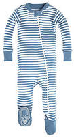 Baby Mini Stripe Organic Zip Front Footed Pajamas