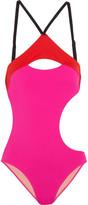 L'Agent by Agent Provocateur Alenya Cutout Color-block Swimsuit - Fuchsia