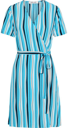 Diane von Furstenberg Leopard-print Crepe De Chine Mini Wrap Dress