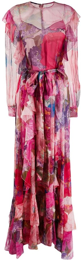 Valentino Printed Chiffon Evening Dress