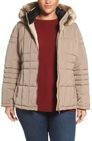 Calvin Klein Plus Size Women's Hooded Jacket With Faux Fur Trim