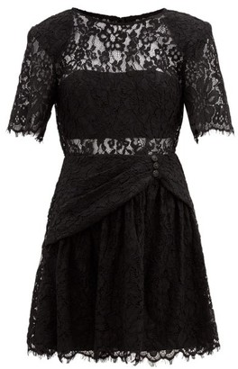 Self-Portrait Gathered Cotton-blend Corded-lace Mini Dress - Black