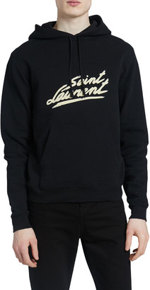 Saint Laurent Men's Logo Script Hoodie