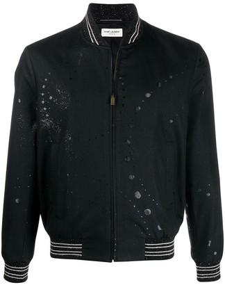 Saint Laurent Splatter Print Bomber Jacket