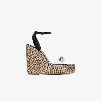 Sophia Webster Black Dina 140 embellished wedge sandals