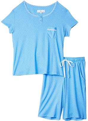 Karen Neuburger Petite Monet's Garden Short Sleeve Bermuda Pajama (French Blue Foulard) Women's Pajama Sets