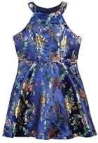 Trixxi Metallic Floral Jacquard Dress