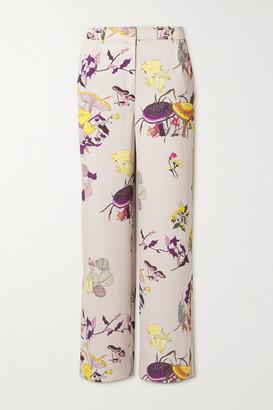 Tory Burch Printed Crepe Straight-leg Pants - Mushroom