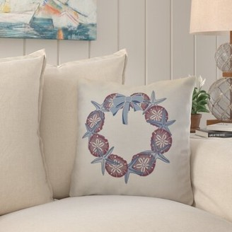 """Beachcrest Home Decorative Holiday Geometric Print Throw Pillow Size: 16"""" H x 16"""" W, Color: Blue"""