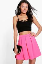 Boohoo Bahati Box Pleat Textured Skater Skirt