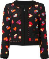 Moschino hearts print open jacket - women - Silk/Polyester/Cotton - 38