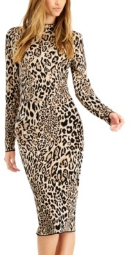 Bar III Cheetah-Print Jacquard Bodycon Sweater Dress, Created for Macy's