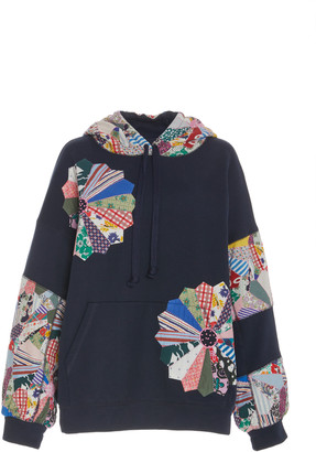 Sea Paloma Patchwork Floral-Embroidered Cotton Hoodie