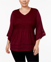 Style&Co. Style & Co Plus Size Angel-Sleeve Babydoll Top, Created for Macy's