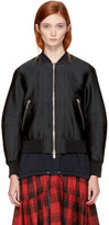 3.1 Phillip Lim Black Satin Lacing Bomber Jacket