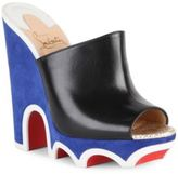 Christian Louboutin Mulacramp 140 Leather Wedge Mules