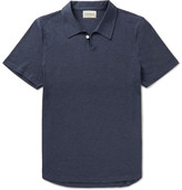 Oliver Spencer Hawthorn Slim-fit Mélange Cotton-jersey Polo Shirt - Navy