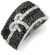 jewelryPot Sterling Silver Rhodium and White Synthetic CZ Bow Ring