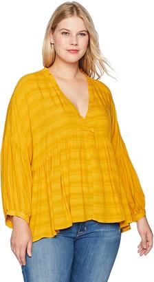Lucky Brand Women's Plus Size Romantic Peasant Ruffle TOP