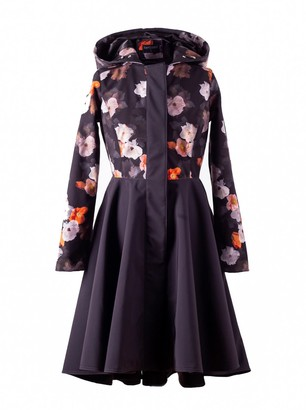 Rainsisters Elegant Floral Waterproof Evening Coat With Black Circle Skirt: Dark Anemone