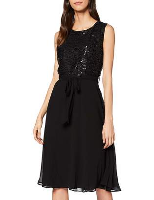 Yumi Black Sequin Body Skater Dress