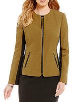 Kasper Petite Stretch Crepe Colorblock Zipper Front Jacket