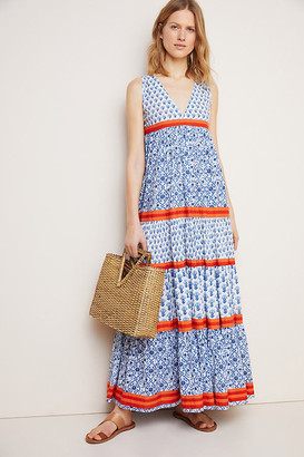 Ro's Garden Aisha Cover-Up Maxi Dress By in Blue Size XS