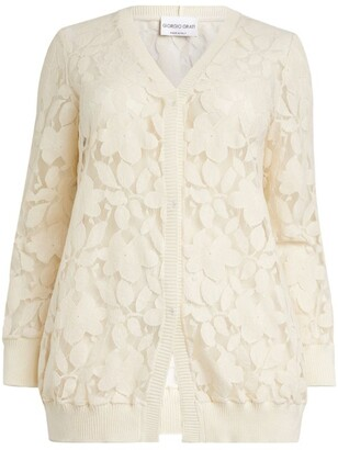 Giorgio Grati Floral Lace-Embroidered Cardigan