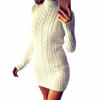 Jolisson Womens Cable Knit Mini Dress Long Pullover Plain Jumpers Long Sleeve Slim Basic Sweater Tops Tunic (Beige UK 10-12)