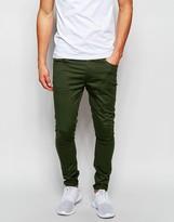 Asos Extreme Super Skinny Pants In Dark Khaki