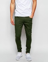 Asos Extreme Super Skinny Trousers In Dark Khaki