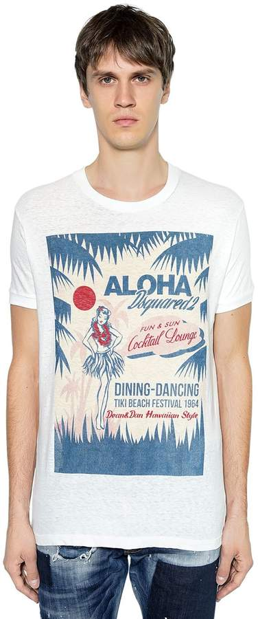 DSQUARED2 Aloha Printed Cotton Jersey T-Shirt