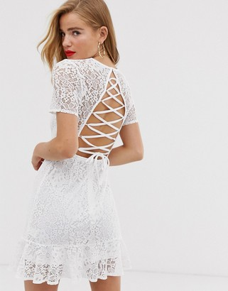 In The Style x Dani Dyer lattice back detail lace skater dress in white