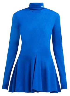 Calvin Klein Logo-embroidered Roll-neck Flared Wool Sweater - Womens - Dark Blue