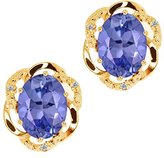 Gem Stone King 3.14 Ct Oval Blue Tanzanite and White Diamond 14k Yellow Gold Earrings