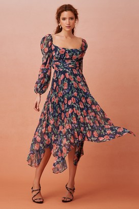 Keepsake NOMINAL LONG SLEEVE MIDI DRESS Midnight Floral