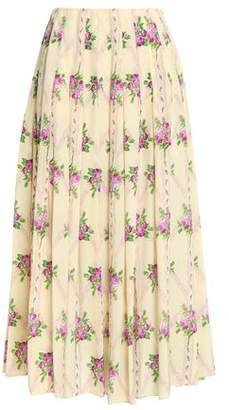 Emilia Wickstead Richie Pleated Floral-print Silk Crepe De Chine Midi Skirt