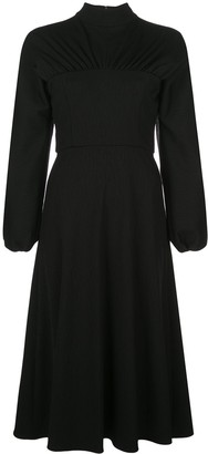 Christian Siriano mock neck crepe dress