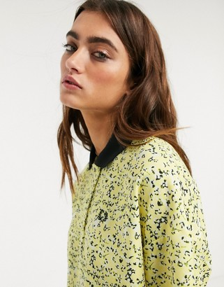 Fred Perry x Precis botanical print oversize polo shirt in yellow