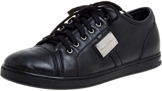 Dolce & Gabbana Black Leather Low Top Sneakers Size 37