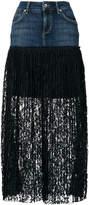 Liu Jo pleated lace denim skirt