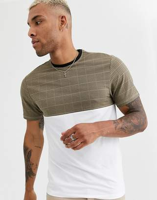 ONLY & SONS check panel t-shirt in white