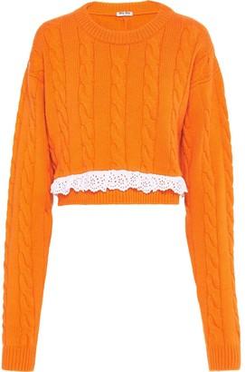 Miu Miu Lace Trim Crew Neck Sweater