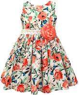 Jayne Copeland Coral & White Floral Sleeveless Dress - Girls