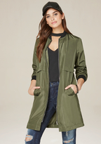 Bebe Olive Long Bomber Jacket